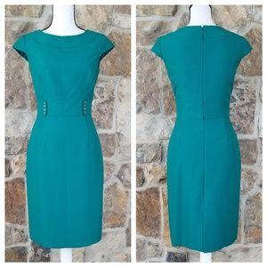 Tahari ASL 4 Textured Sheath Green Dress